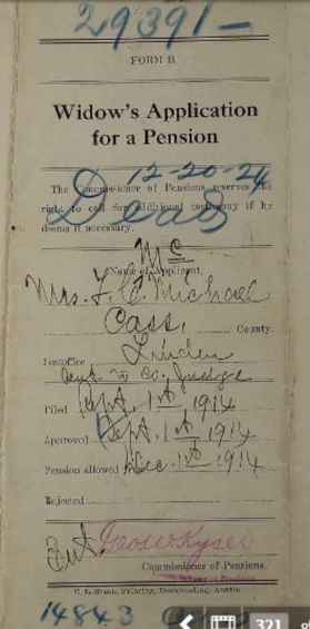 Francis' application for Widow's pension in Linden 1914.