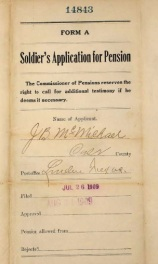 J. B. McMichael application for Pension in Linden in 1909